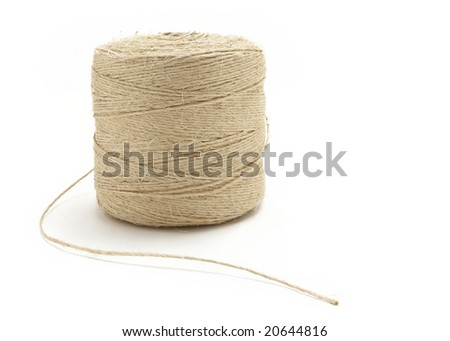 Reel of twine rope isolated on white background