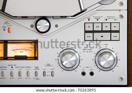 Reel-to-reel Stereo Recorder Deck controls - stock photo