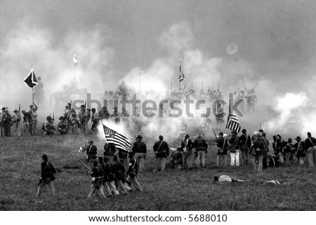 Reenactment of the American Civil War Battle of Tunnel Hill Ga. The original Battle occurred, in May of 1864 and signaled the start of the Atlanta Campaign. - stock photo