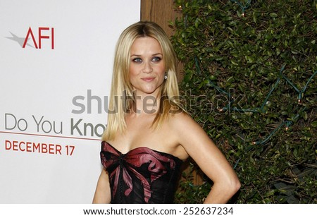 """Reese Witherspoon at the Los Angeles Premiere of """"How Do You Know"""" held at the Regency Village Theater in Westwood, California, United States on December 13, 2010.  - stock photo"""