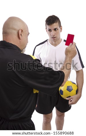 Referee show red card to soccer player, isolated on white. - stock photo