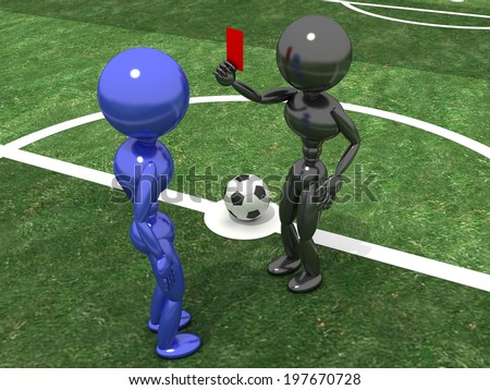 Referee shows a red card to the Player in the background of a football field.  - stock photo