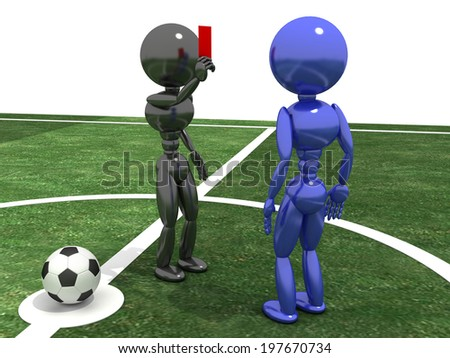 Referee shows a red card to the Player in the background of a football field. �¢??2 - stock photo