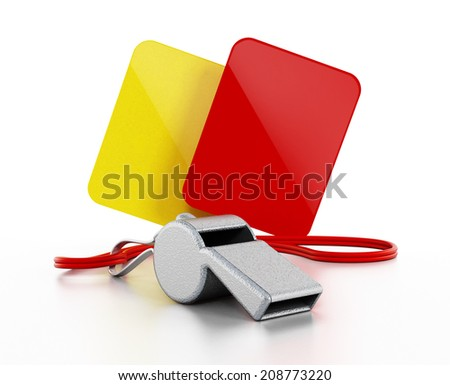 Referee whistle, yellow and red cards isolated on white - stock photo