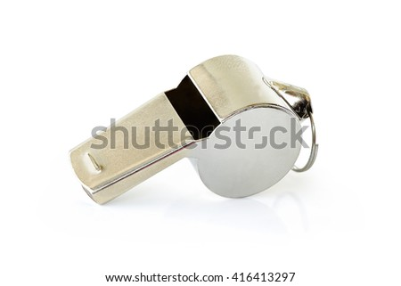 Referee Whistles made from silver standard isolated on white background. This has clipping path.