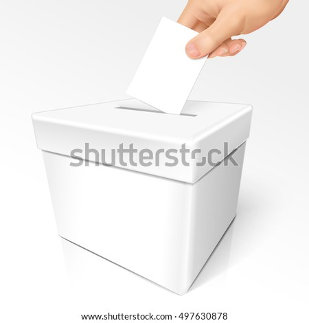 referndum word on white box with a hand cast his/her vote
