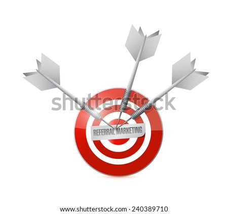 referral marketing target illustration design over a white background - stock photo