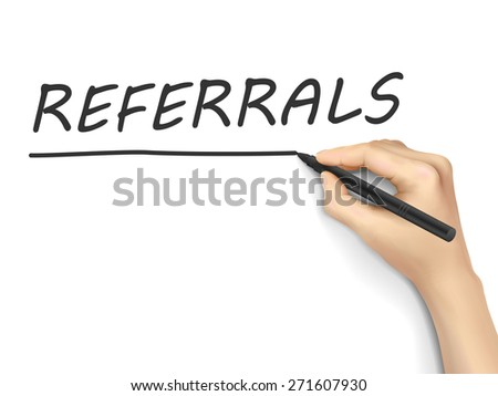 referrals word written by hand on a transparent board - stock photo