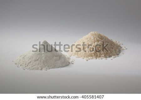 refined rice and then processed into flour on a white background