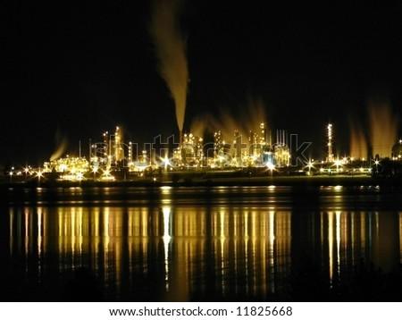 Refinery at Night - stock photo