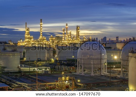 Refinery at twilight - stock photo