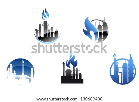Refinery factory icons and symbols for industry design or logo template. Vector version also available in gallery - stock photo