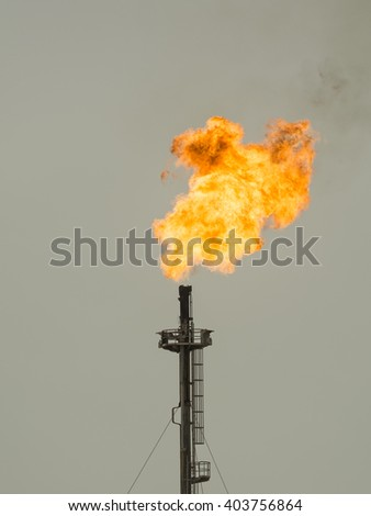 Refinery flare - flaring of dangerous gases in the oilfield.
