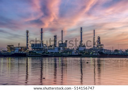 refinery in Thailand with the beautiful morning sky