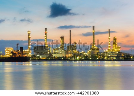 Refinery lights river front with sunrise sky background