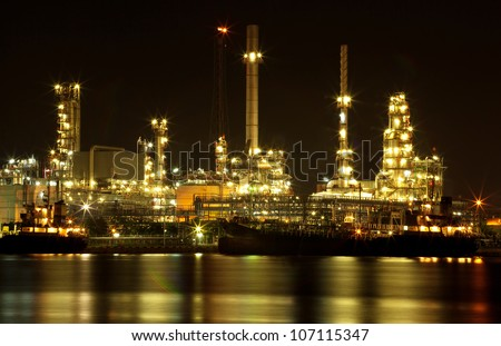 Refinery oil plant at night closeup
