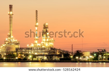 refinery oil sunset
