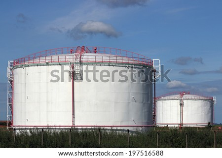 refinery oil tanks industry zone - stock photo