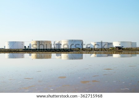 Refinery oil tanks, oil industry business. - stock photo