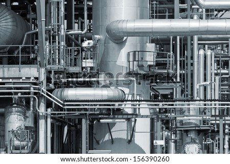 Refinery piping - stock photo
