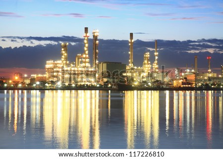 Refinery plant area at twilight - stock photo