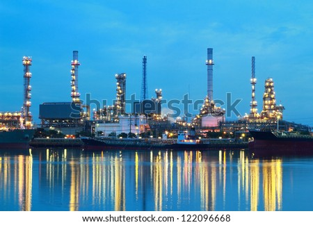 Refinery plant area at twilight, Thailand.