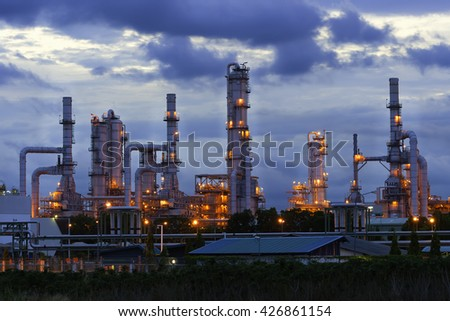 Refinery plant for Oil and Gas industrial at twilight - Petrochemical plant