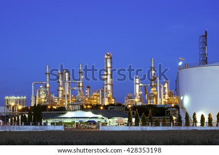 Refinery plant for Oil and Gas industrial at twilight - Petrochemical plant - stock photo