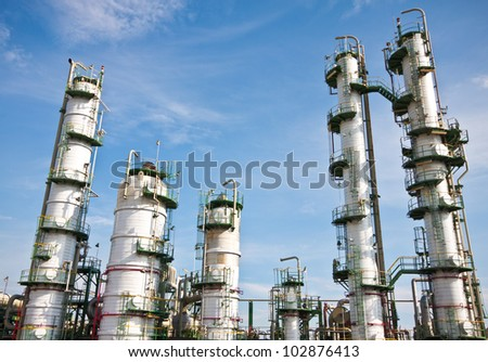 refinery plant in blue sky