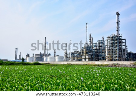 Refinery plant under the background of blue sky white clouds