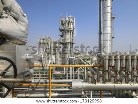 Refinery plant with blue sky