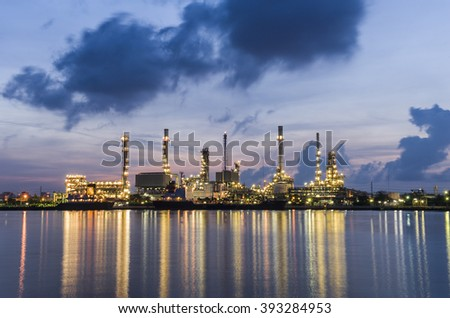 Refinery plant with real water reflection in Bangkok