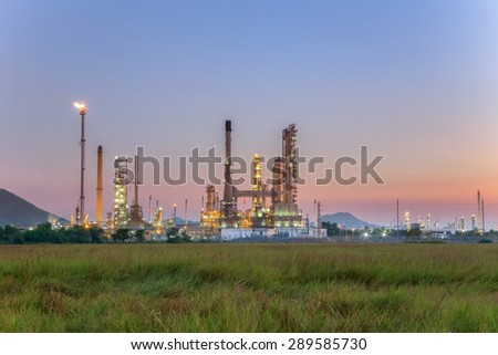Refinery with light in the evening.