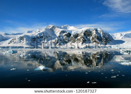 reflected antarctic landscape