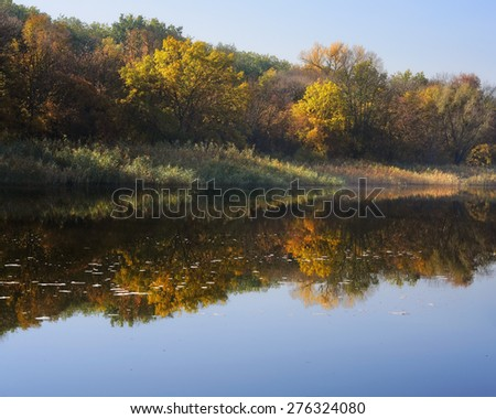reflected in the river shore autumn morning - stock photo