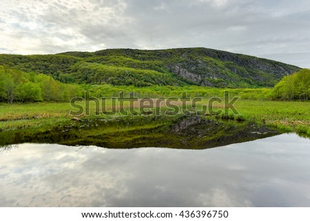 Reflecting lake in Acadia National Park, Maine. - stock photo