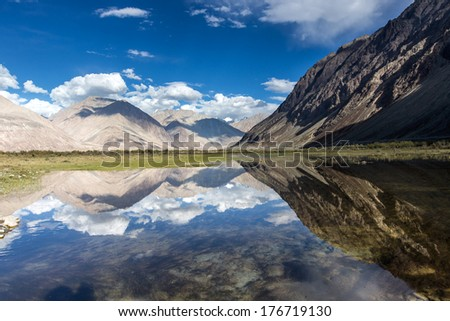 reflecting pools in Nubra Valley, Northern India - stock photo