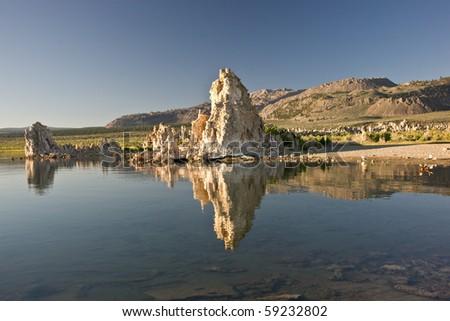 Reflecting tufa in Mono Lake - stock photo