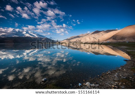 Reflection at Karakul lake - stock photo