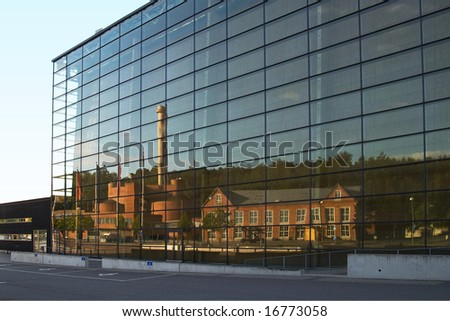 Reflection from glass wall - stock photo