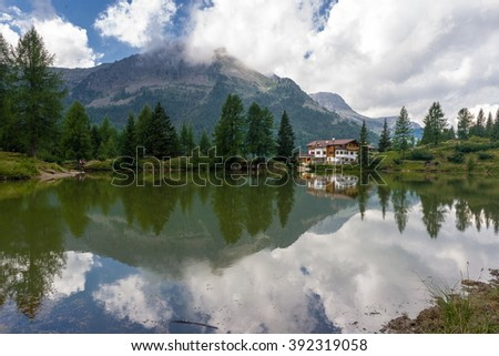 Reflection in a little lake situated at Passo San Pellegrino, in the Dolomites