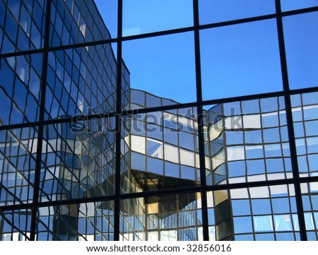 Reflection in reflection. modern business buildings
