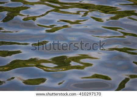 Reflection In river water . Open aperture, shallow depth of field. local focus - stock photo
