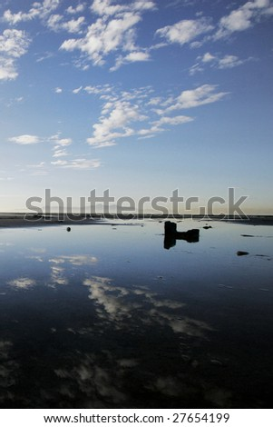Reflection in Salt Lake. - stock photo