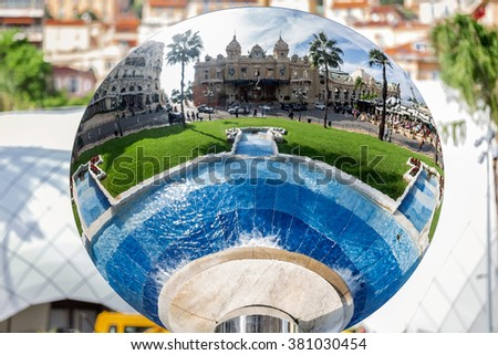 Reflection in the mirror. Monte Carlo Casino is a gambling and entertainment complex located in Monte Carlo, Monaco. Complex includes a casino and Grand Theater Architect - Charles Garnier. - stock photo