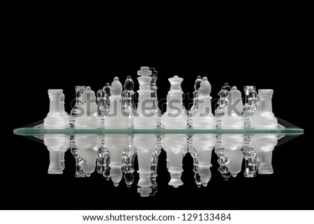 Reflection of a chess game about to begin