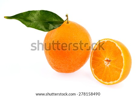 reflection of an orange. symbolic photo for healthy vitamins through fresh fruit - stock photo