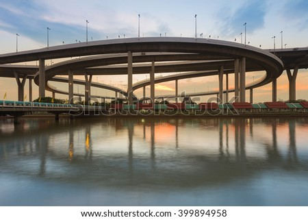 Reflection of Bhumibol highway interchanged, Bangkok Thailan - stock photo