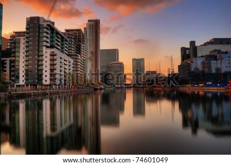 Reflection of building at Canary Wharf - stock photo