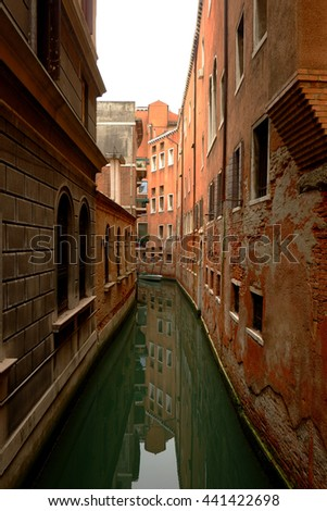 Reflection of buildings on canal. Venice, Italy - stock photo
